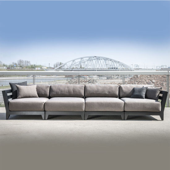 China Modern Commercial Outdoor Aluminium Modular Middle Armless Sofa  Centre Unit