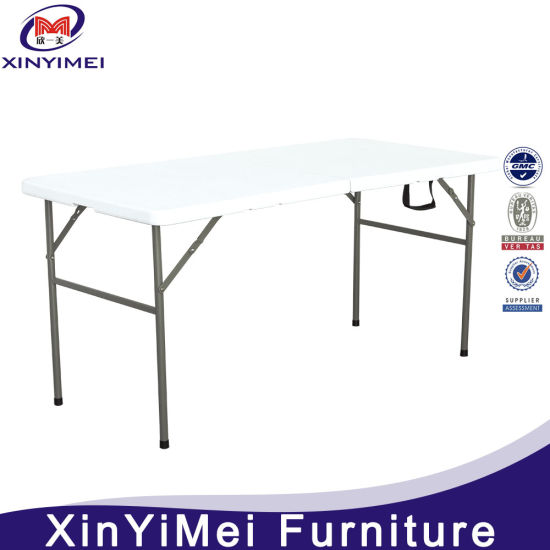 China Outdoor Foldable HDPE Material Table Top Square Metal Folding Table