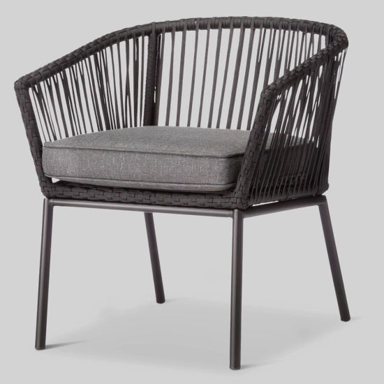 Fine China Sling Style Metal Rattan Dining Chair With Cushion Ncnpc Chair Design For Home Ncnpcorg