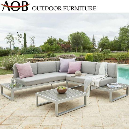 China Modern Design Aluminum Alloy L Shape Sofa Set Outdoor Garden Furniture