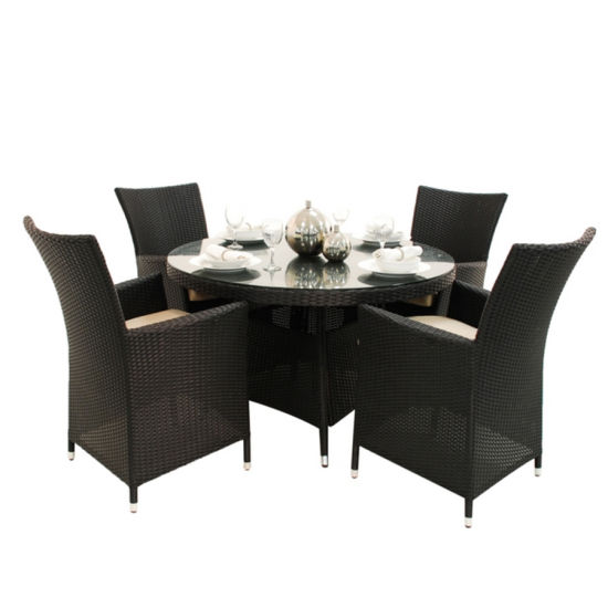 China UV-Protection Garden Wicker Dining Table Chairs
