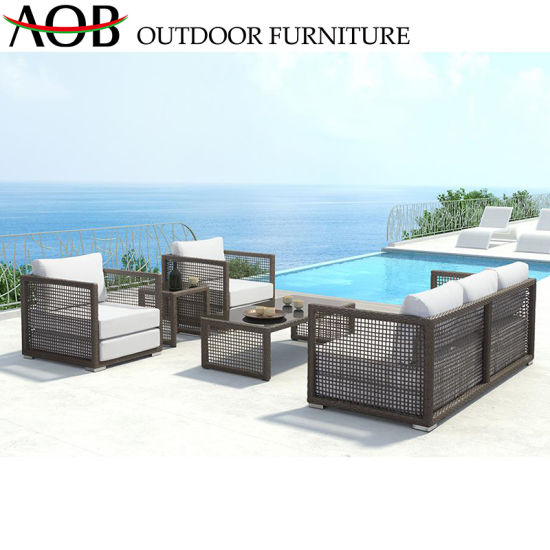 China Outdoor Furniture Beach Rattan Wicker 2 Two Seater Sofa Set with  Retangular Tea Table
