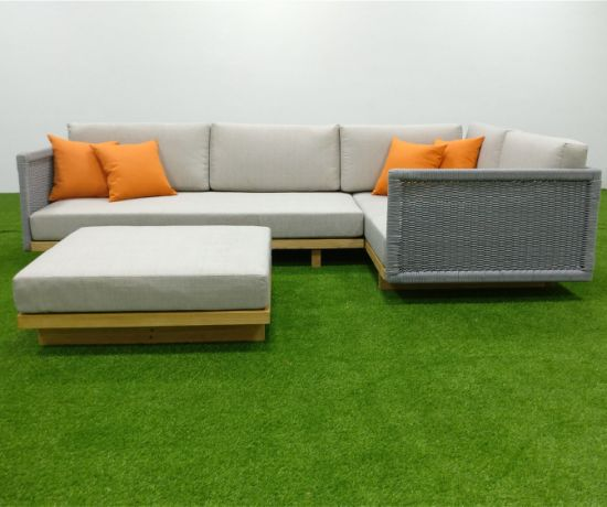 Super China L Shape Garden Teak Outdoor Sofa Set With Ottoman Pdpeps Interior Chair Design Pdpepsorg