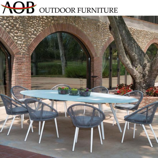 China Outdoor Garden Patio Furniture Rattan Hotel Restaurant Dining Chair Ceramic Marble Table Furni