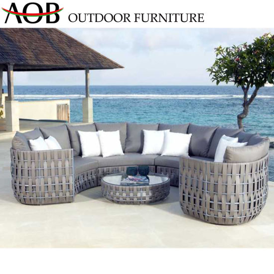 China Chinese Outdoor Garden Large Patio Luxury Furniture Weaving Rope  Round Shape Sofa Set