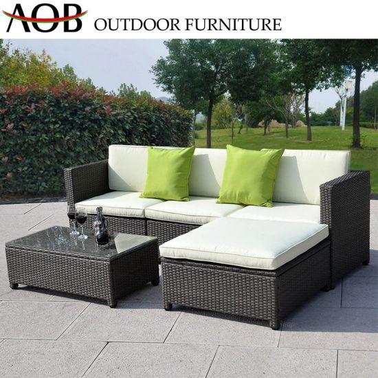 China Outdoor Garden Large Patio Luxury Furniture Rattan Wicker 3-Seater  Loveseat Sofa Set
