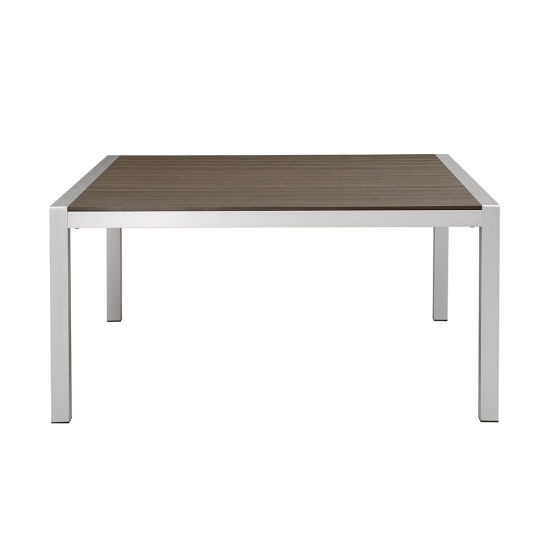 China Modern Garden Furniture Poly Wood Top Aluminum Outdoor Dining Table