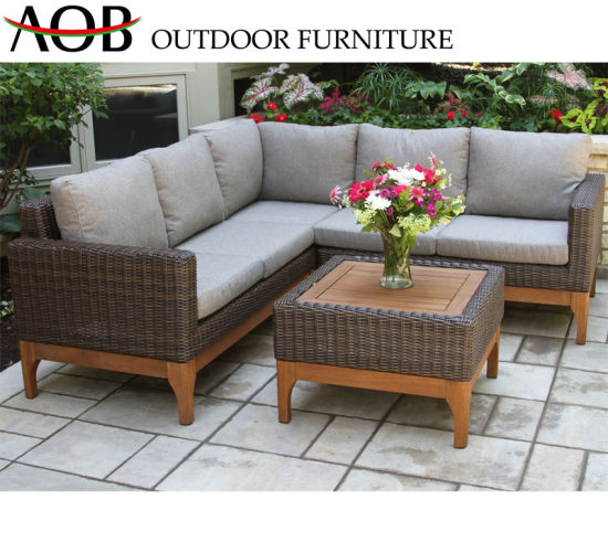 China Best Selling Outdoor Furniture Rattan Wicker Brown L Shape Sofa Set  with Back Pillow