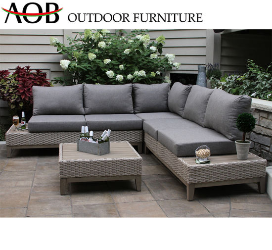 China Chinese Manufacturer Outdoor Furniture Balcony Aluminium Frame Rattan  Wicker L Shape Sofa Set