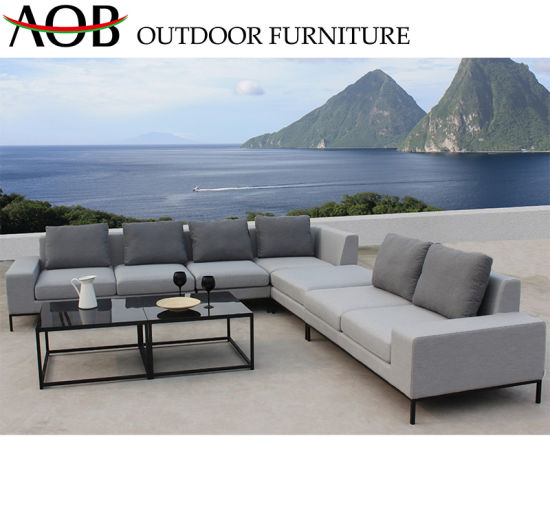 China Chinese Supplier Modern Outdoor Garden Furniture Sets Fabric Corner  Sofa with Square Black Tab