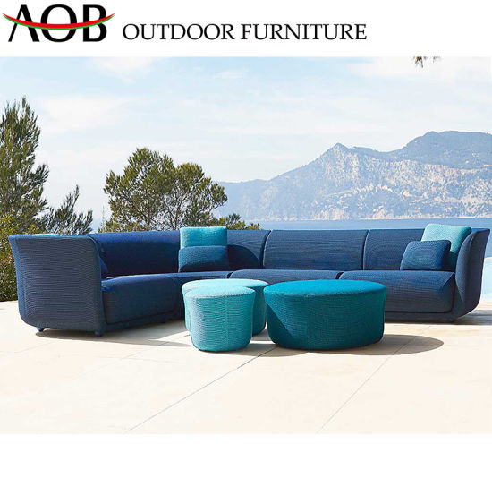 China Commercial Chinese Outdoor Garden Balcony Patio Furniture Sets Blue  Fabric L Shape Corner Sofa
