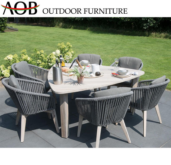 China Morden Outdoor Dining Set Garden Hotel Furniture 6 Seater Rope Chair Triangle Table
