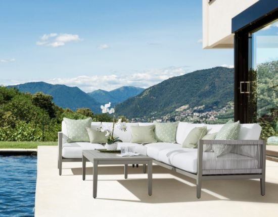 China Outdoor Aluminum Furniture Knock Down Rope Weaving Aluminum Corner Sofa