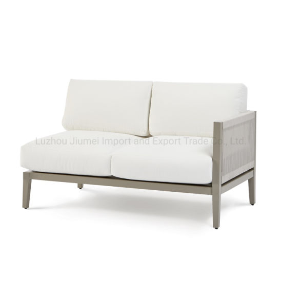 China Outdoor Aluminum Furniture Knock Down Rope Weaving Aluminum One Arm Loveseat