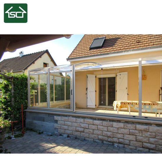 China Attached to House Manual Retractable Sliding Polycarbonate 4 Season Sunroom Sunhouse