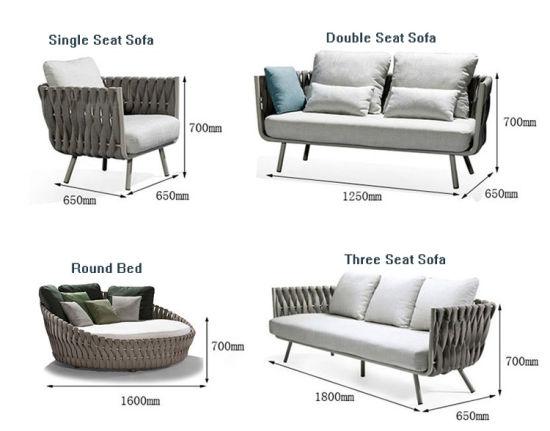 چین سوفا سیٹ کے ساتھ مختلف سائز کی شکل کی رسی بنے ہوئے لاؤنج ٹیبل کرسیاں