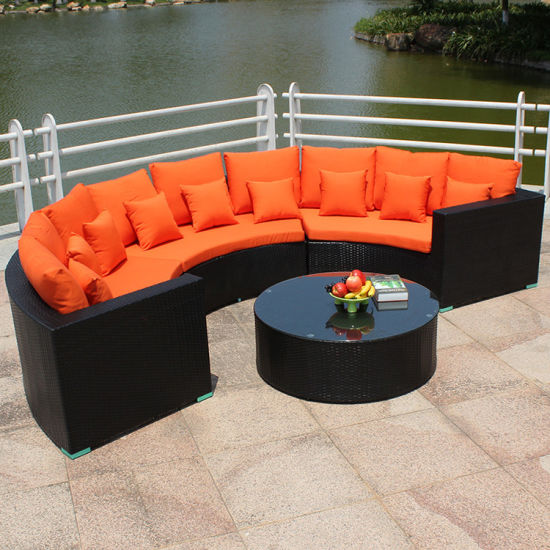 Lachin New Rattan Tissage Long konfòtab Sofa ak pri Great