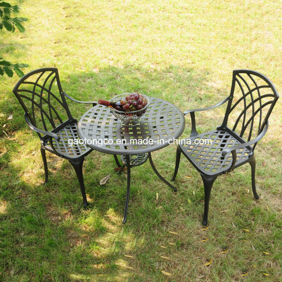 China Fendias Best Choice Products Antique Cast Aluminum 3-Piece Outdoor Bistro Set in Black White