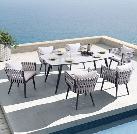 China Outdoor Garden Pqtio Aluminum Rope 5PCS Sofa Sets Furniture with Cushion pictures & photos