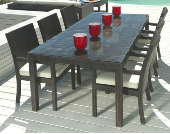 China Large Dining Tables Wicker Rattan Chair Table Set Outdoor Paito Restaurant Furniture