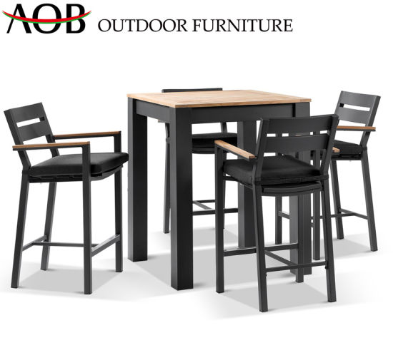 Super China Modern Outdoor Garden Home Hotel Resort Aluminum Teak Bistro Bar Stool Table Chair Furniture Pabps2019 Chair Design Images Pabps2019Com