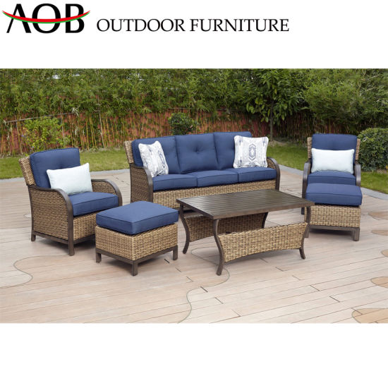 China PE Rattan Outdoor Garden Corner Wicker Furniture Aluminum Sofa