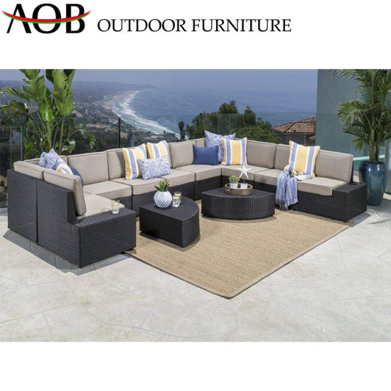 China Luxury Customize Outdoor Patio Furniture Set Rattan Corner Sofa  Garden Poolside Sofa