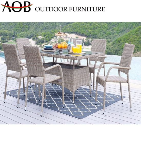 China Modern Patio Outdoor Garden Furniture Dinner Table Chair Hotel Restaurant Dining Sets