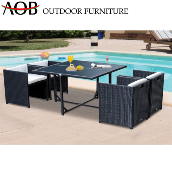 5în XNUMX-Piçe Dining Set Outdoor Patio Garden Garden Rattan Wicker Hotel Restaurant Dining Sets