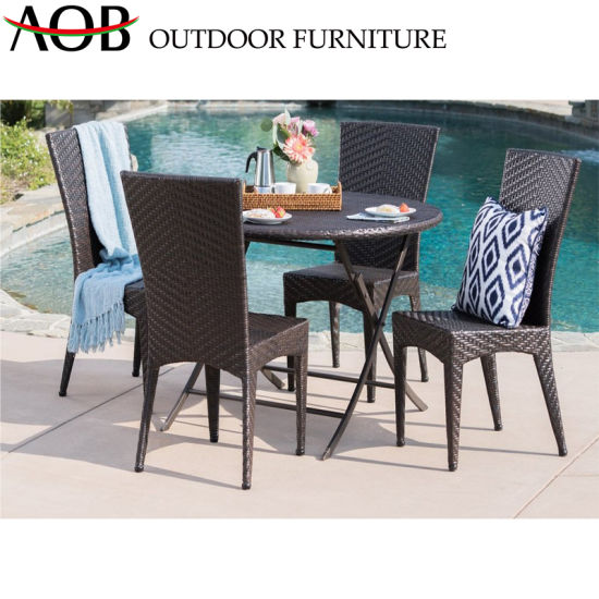 Lachin Patio Mèb Round Table Deyò Outdoor Sets Gardern Mèb Rattan Wicker