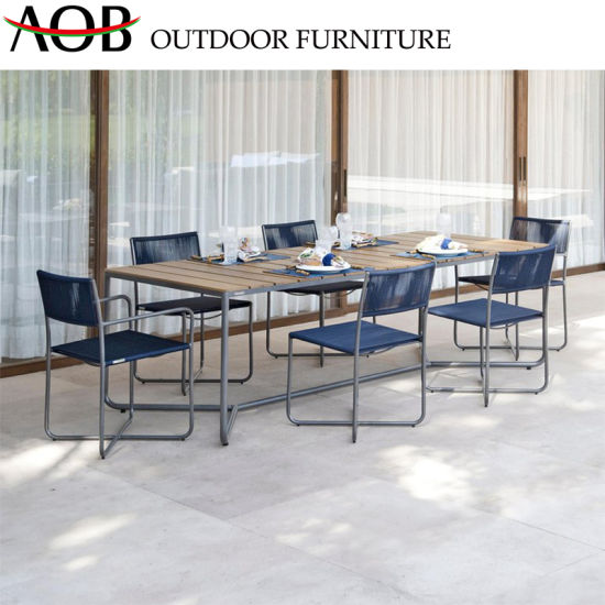 China Customized Leisure Garden Furniture Sets Restaurant Rope Woven Dining Chair with Teak Table pictures & photos