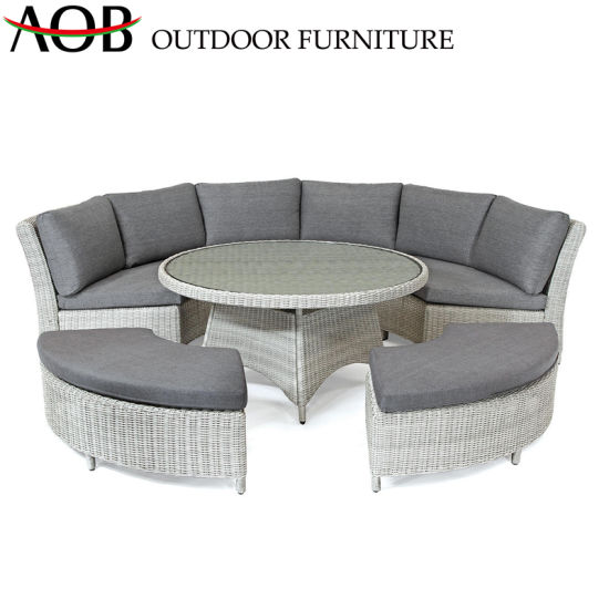China Circular Outdoor Garden Sofa with Round Table Contemporary Hotel Restaurant Villa Furniture