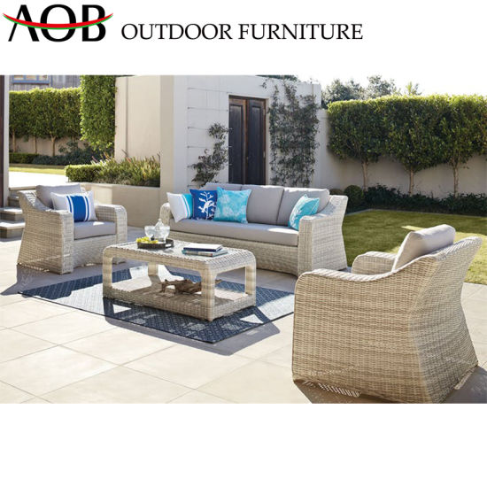 China Garden Patio Furniture Modern Design Rattan Wicker Sofa Sets with  Ottoman