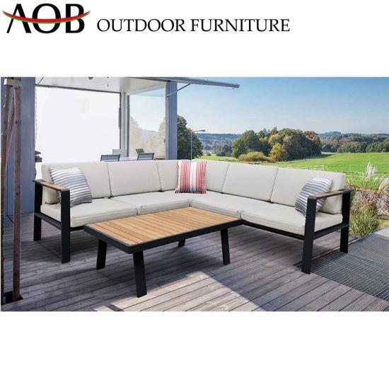 China Black Corner Sofa Sets Outdoor Garden Furniture Sectional Leisure  Hotel Villa Teak Sofa