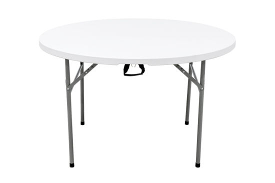 China 4FT Folding Round Table Large Plastic Folding Top Portable Picnic Tailgating in White