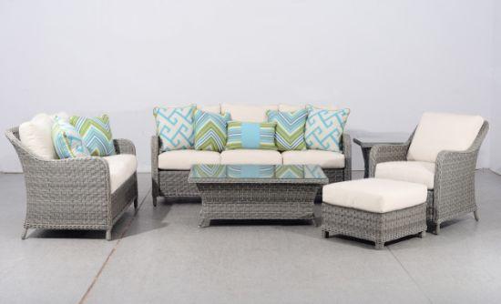 China Outdoor Garden Furniture Knock Down Rattan Loveseat Sofa