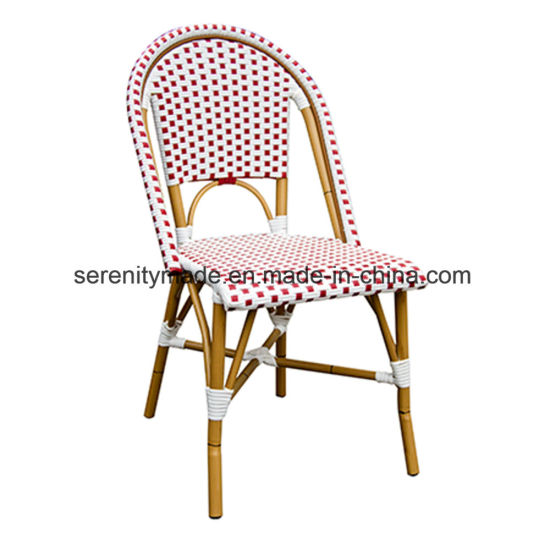 China Handmade Stacking Armless French Rattan Bistro Outdoor Dining Chairs