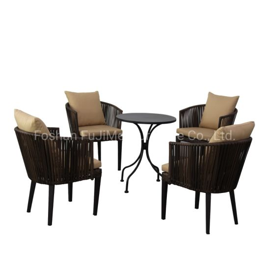 China Outdoor PE Rattan Chair Furniture Nordic Rattan Furniture with Aluminum Frame Outdoor Table Ch