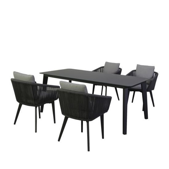 China 2019 Stylish Outdoor Furniture Garden Sofa Rope Dining Set with Aluminium Frame for Patio