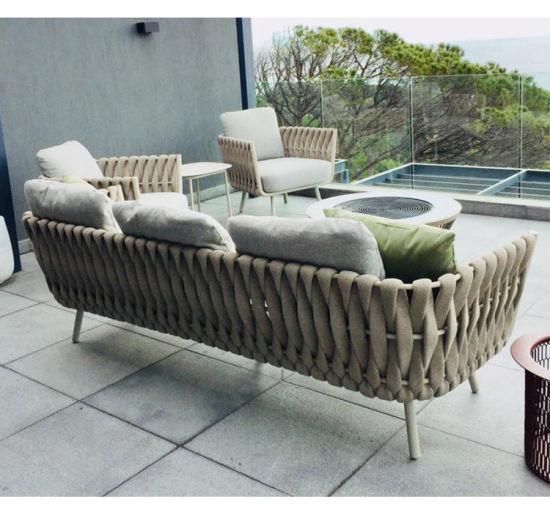 Iċ-Ċina 2019 Għamara Stylish Outdoor Furniture Rope Furniture with Frame tal-Aluminju għal stampi u ritratti tal-Patio
