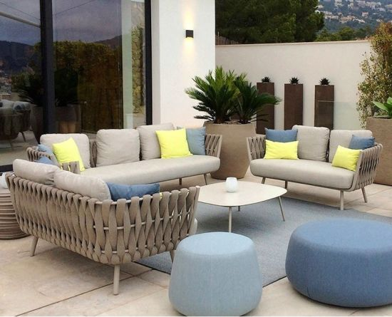 China 2019 Stylish Outdoor Furniture Rope ngwá ụlọ na Aluminium Fraị maka Patio