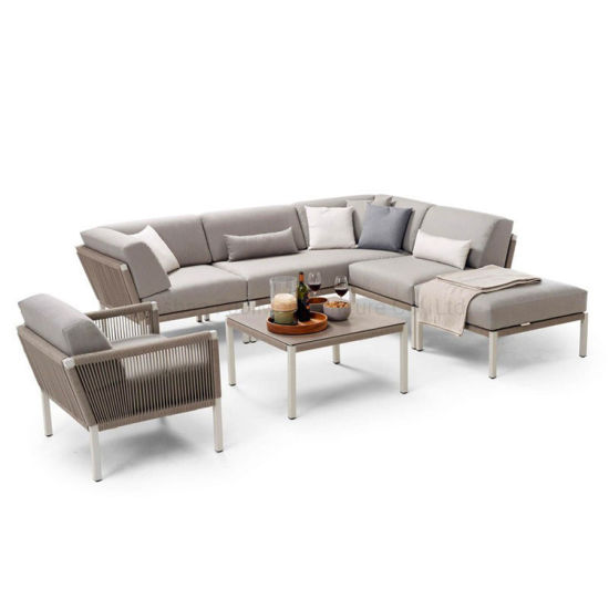 China Perabot Taman Luaran Patio Aluminium Frame Woven Rope Leisure Sofa Set