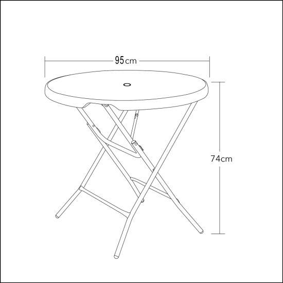China Patio Plastic Folding Round Table--95cm