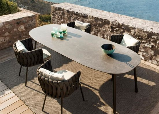 China Wholesale Garden Furniture Outdoor Rope Furniture Dining Set Hotel Aluminum Table Chairs Set P pictures & photos