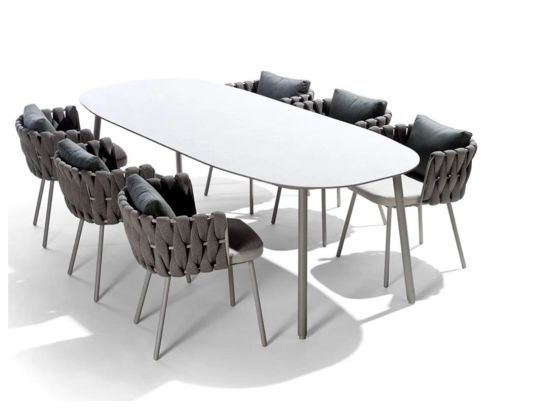 I-China Wholesale Garden Fenisha Ingaphandle Lentambo Yefenisha yokudlela Isethi yehhotela I-Aluminium I-Chairs Set Cha