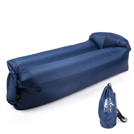 China BSCI Ce Certificate Dark Blue Portable Waterproof Polyester Ripstop Lazy Inflatable Sofa for T