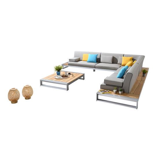 China Outdoor Garden Furniture Brushed Aluminum Frame Teak Combination Sofa Set