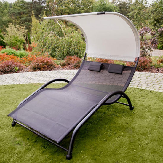 China Portable Double Chaise Lounge Hammock Bed with Sun Shade Pillow for Patio Garden Yard