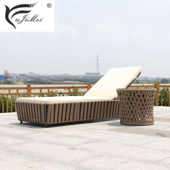China Chaise Lounge Poolside Lounger Day Bed Garden Furniture Perabot Luar
