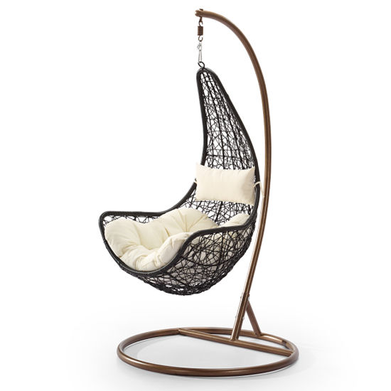 China Egg Design Portable Patio Rotan Swing Chair Perabot Rotan Luar